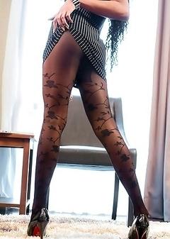Sunnys dark Ladyboy horsecock upskirt in sheer black pantyhose
