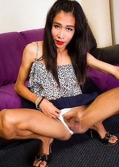 Toon is a 19 year old ladyboy from Bangkok. She is tall, skinny, cute face, rock hard uncut cock and a small ass that can take really big cocks.