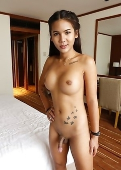 20yo sexy Thai shemale Mickey fucks and sucks white tourists cock.