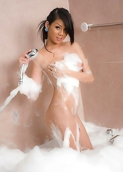 Covered in soap suds Ladyboy Army dildos her horny ass