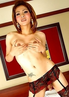 This naughty ladyboy is quick to whip off her knickers and pull up her dress to show us the good stuff. She certainly has sex appeal as she shows off