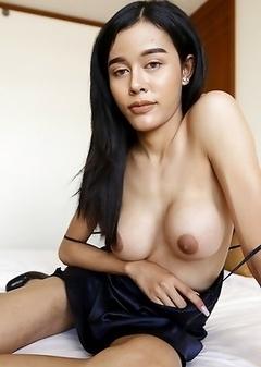 20yo busty Thai ladyboy Jam does a striptease for white tourist