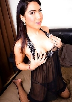 Jasmine is a hot ladyboy from Bangkok. She was very horny, good cock and hot ass. She is versatile.