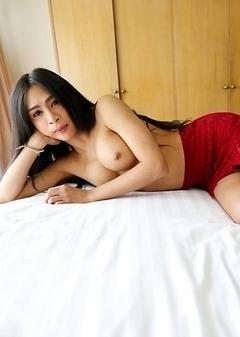 25yo hot Thai ladyboy Pang taking white cock up her ass
