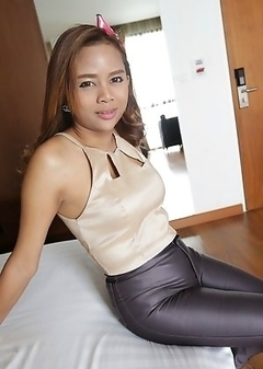 23yo Thai ladyboy Mond gets covered in cum from white cock