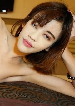 18yo tiny flat-chested Thai ladyboy Jubjang gets cock sucked and ass fucked by white guy