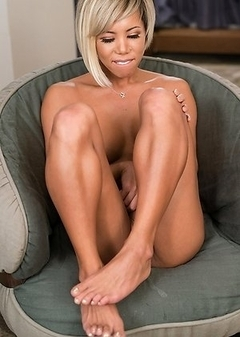 Miran is stroking her fantastic cock.